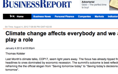 Article; Climate Change Affects Everybody And We All Play A Role, BusinessReport, Jan 2012