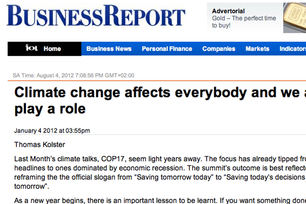 Article Climate Change Affects Everybody And We All Play A Role BusinessReport Jan 2012