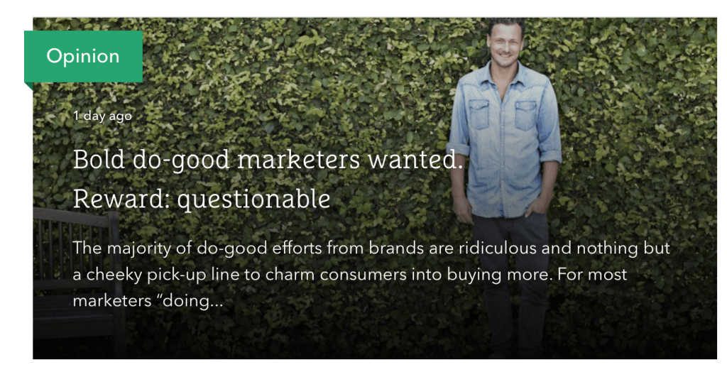 The Drum Bold do good marketers wanted. Reward questionable